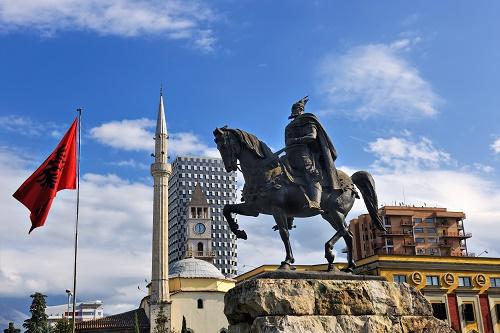 Skanderbeg Monument in Skanderbeg Square in Tirana